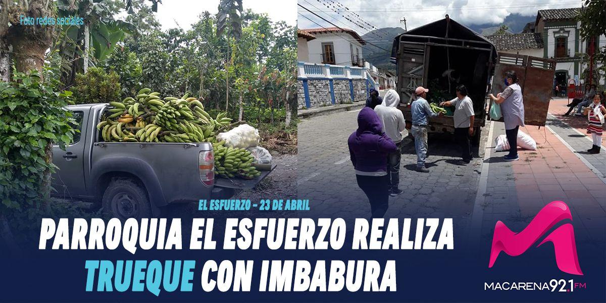 Photo of Parroquia El Esfuerzo realiza trueque con Imbabura